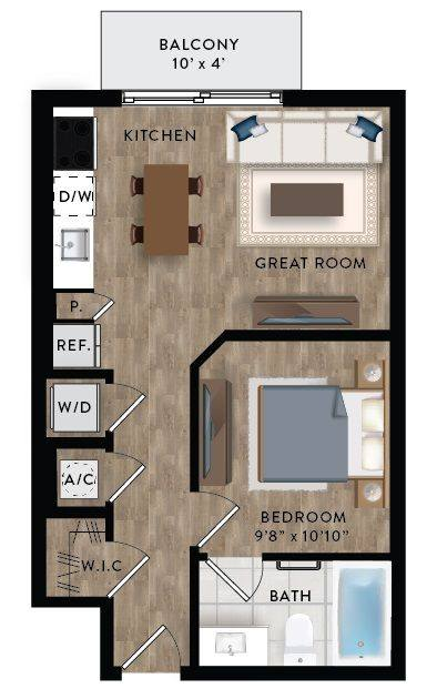 A 2D drawing of the Studio 2-A floor plan