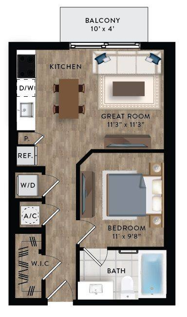 A 2D drawing of the Studio 2-B floor plan
