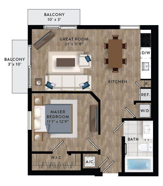 A 2D drawing of the A1-B floor plan