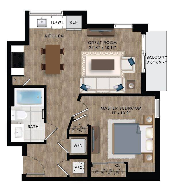 A 2D drawing of the Penthouse 5 floor plan
