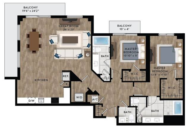 A 2D drawing of the Penthouse 1 floor plan