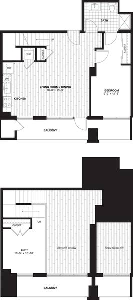 A 2D drawing of the A10L Loft  floor plan