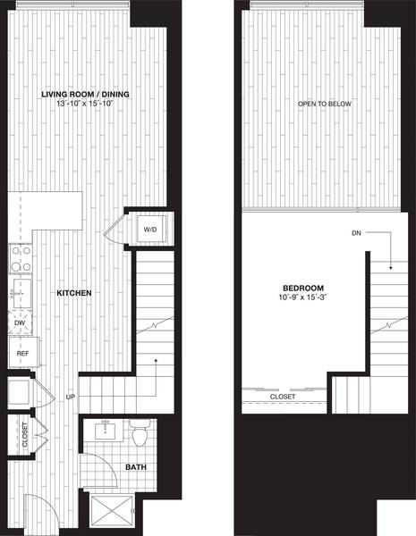 A 2D drawing of the S9AL Loft floor plan