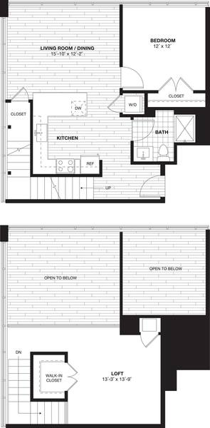 A 2D drawing of the A11L Loft floor plan
