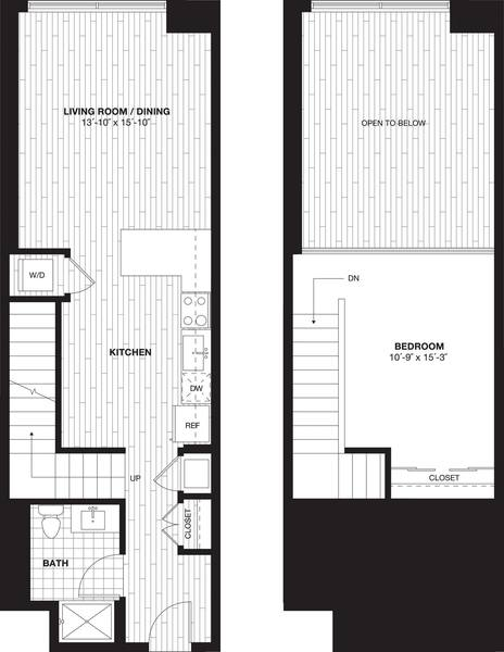 A 2D drawing of the S9BL Loft floor plan