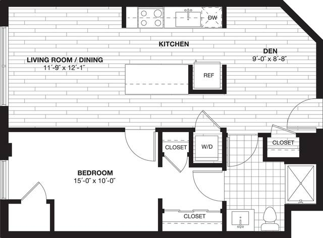 A 2D drawing of the A3AD Den floor plan