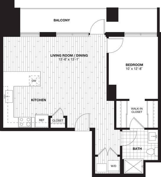 A 2D drawing of the A5L Loft  floor plan