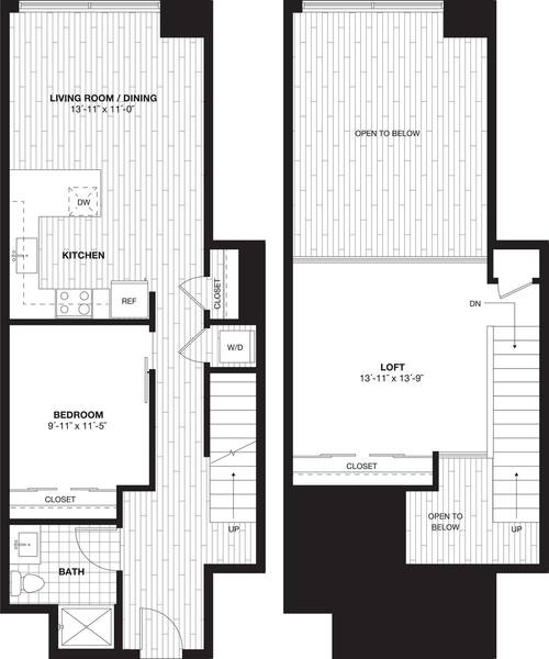 A 2D drawing of the A9L Loft floor plan
