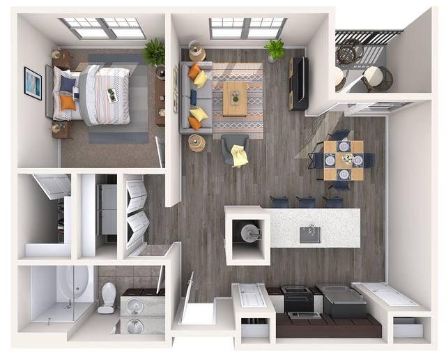 A 3D rendering of the A2-iConnect Renovated floor plan