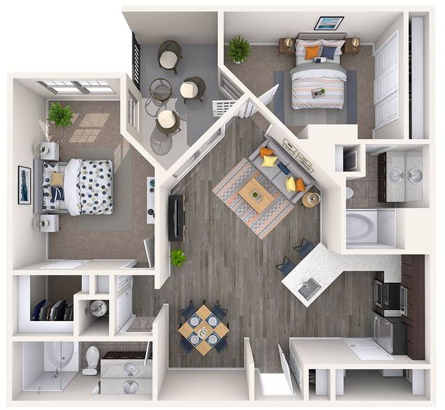 A 3D rendering of the B2-iNetwork floor plan