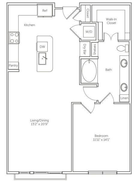 A 2D drawing of the The Abelia floor plan