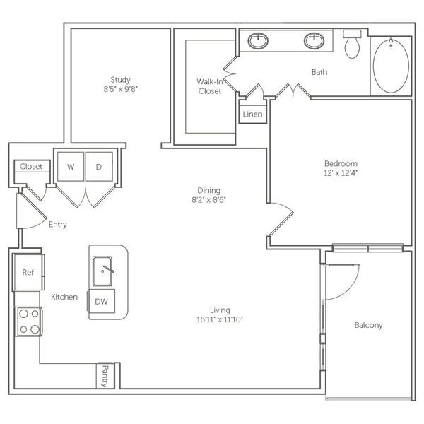 A 2D drawing of the The Jasmine floor plan