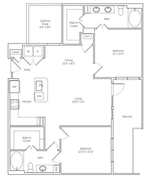 A 2D drawing of the The Bobwhite floor plan