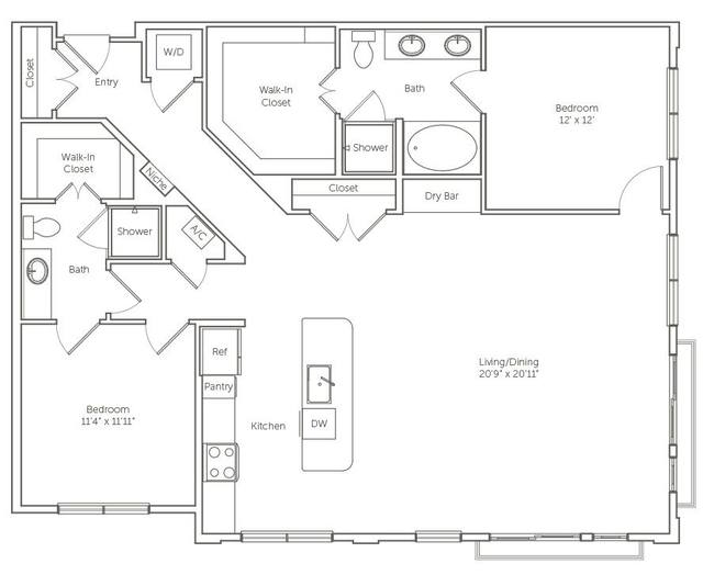 A 2D drawing of the The Mockingbird floor plan
