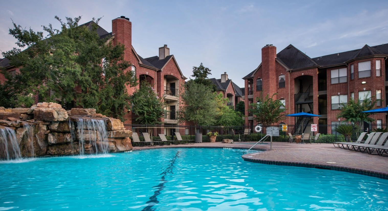 Pool and apartment buildings