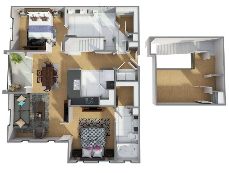A 3D rendering of the B8R floor plan