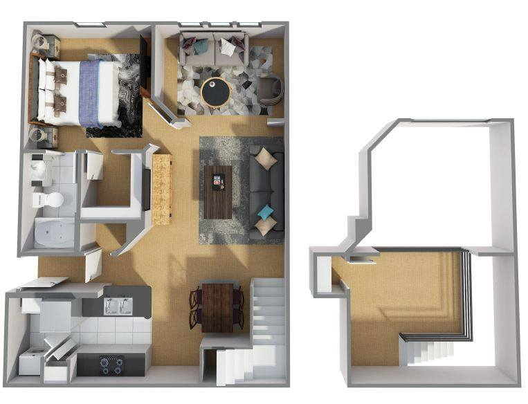 A 3D rendering of the A8R floor plan