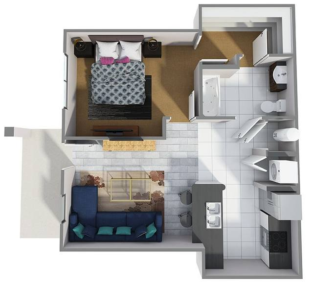 A 3D rendering of the A1R floor plan