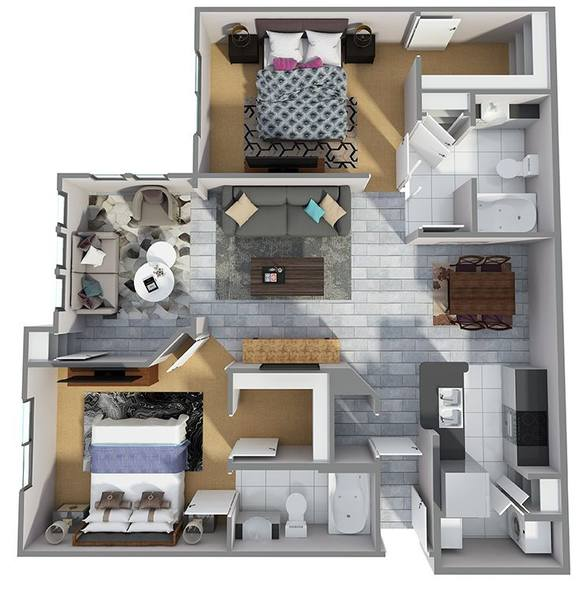 A 3D rendering of the B5R floor plan