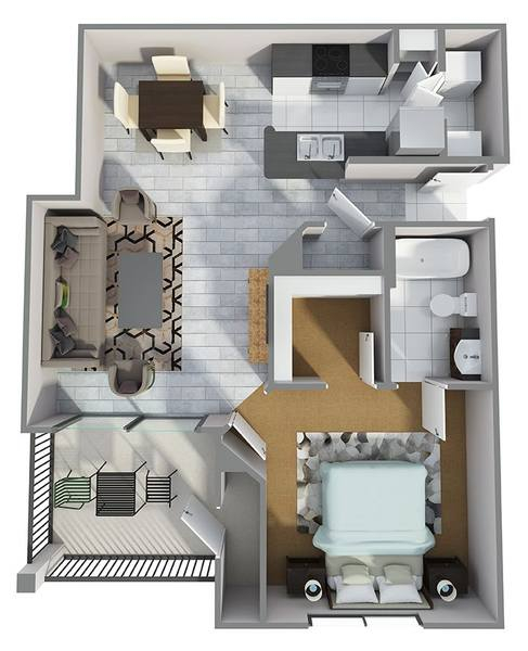 A 3D rendering of the A3R floor plan