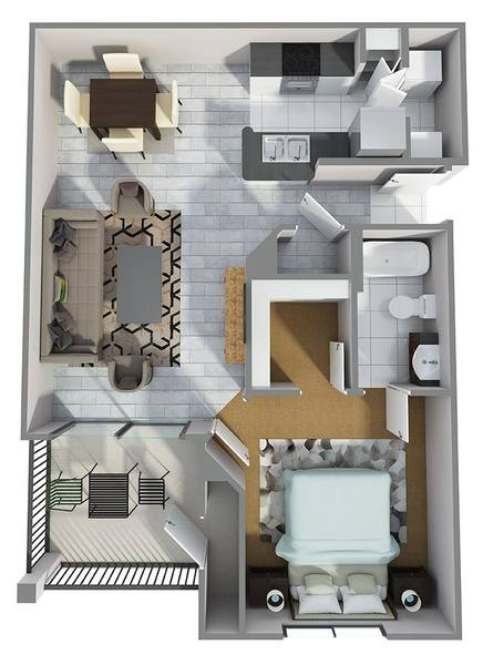 A 3D rendering of the A4R floor plan