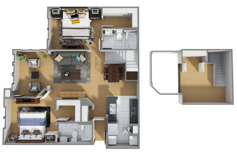 A 3D rendering of the B9R floor plan