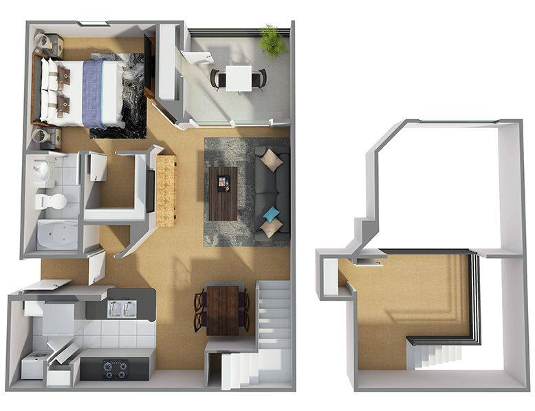 A 3D rendering of the A7R floor plan