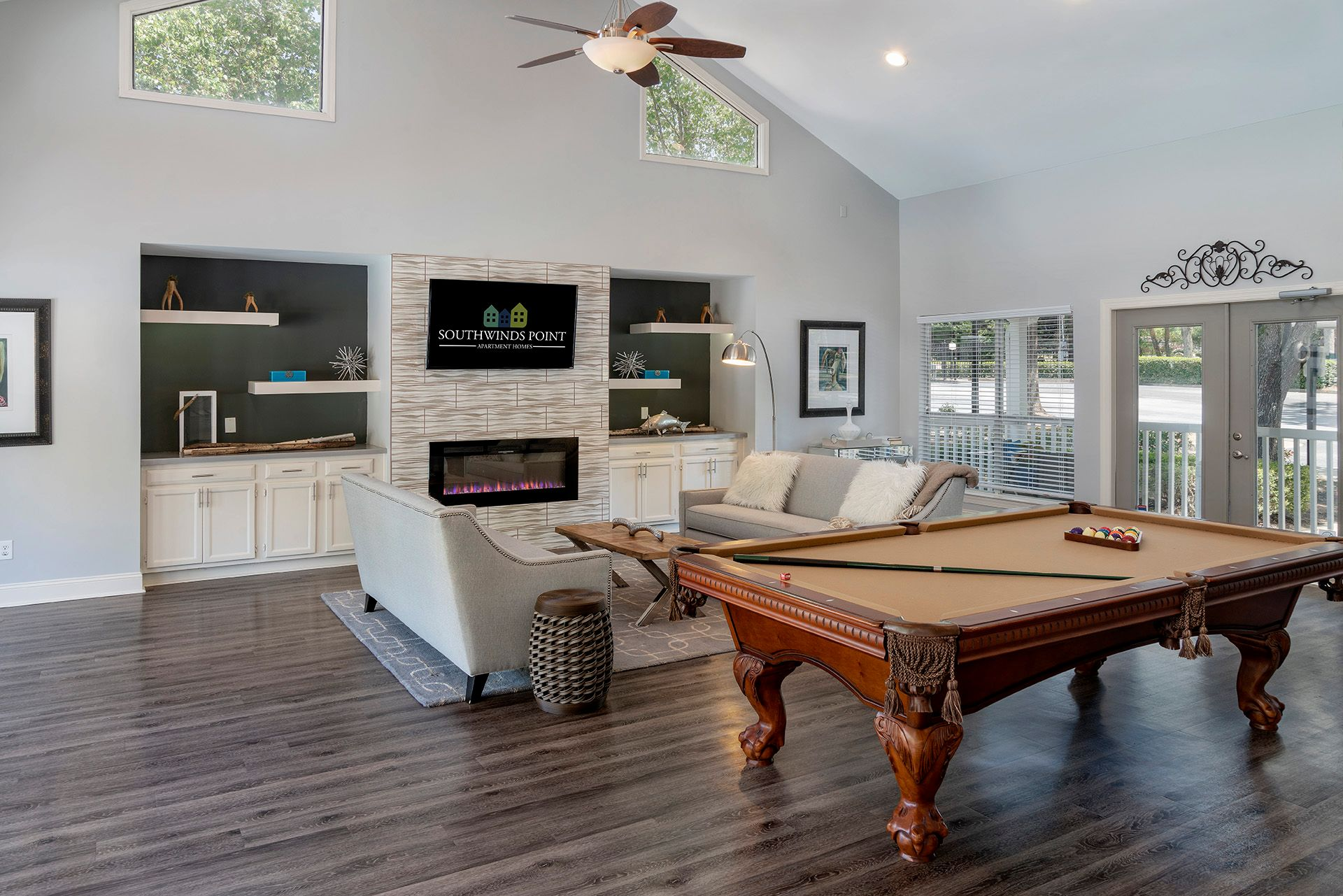 Clubhouse with pool table and couches