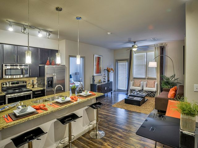 Modern apartment dining and kitchen area