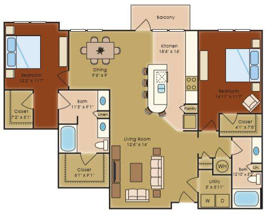 A 2D drawing of the B2h floor plan
