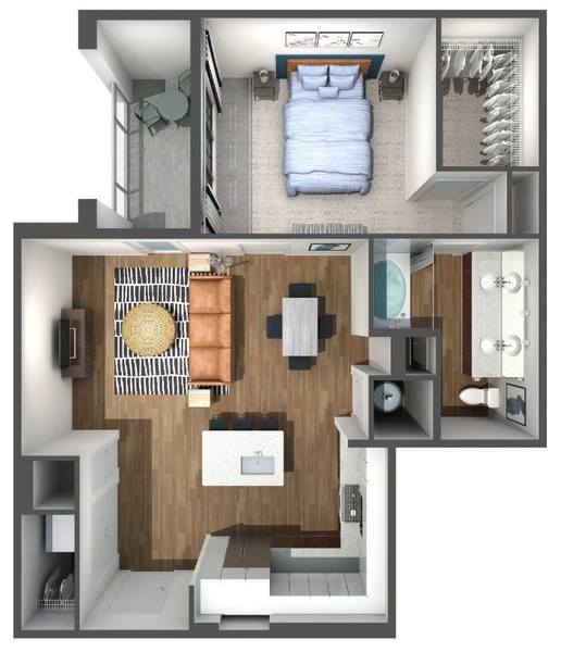 A 3D rendering of the A6 floor plan