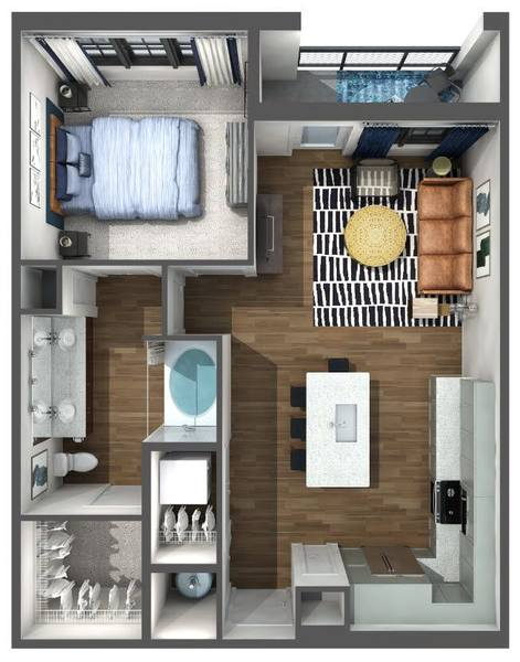 A 3D rendering of the A3 floor plan