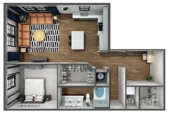 A 3D rendering of the A7s floor plan