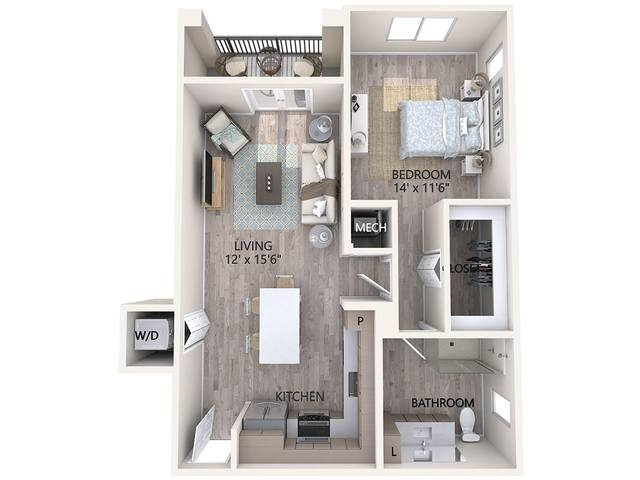 A 3D rendering of the Unit A3 floor plan