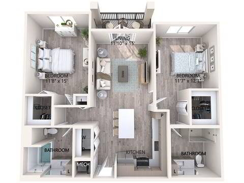Floorplan Unit B1-B layout