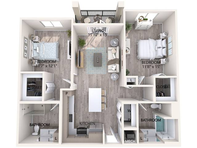 A 3D rendering of the Unit B1 floor plan