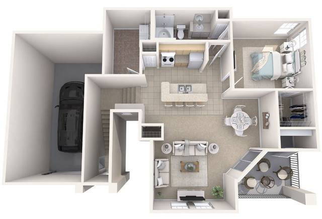 A 3D rendering of the St. Andrew Renovated floor plan