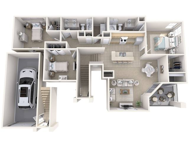 A 3D rendering of the Bay Hill  floor plan