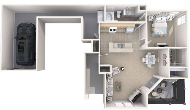 A 3D rendering of the Augusta Renovated floor plan