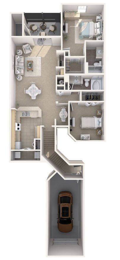 A 3D rendering of the Doral Renovated floor plan