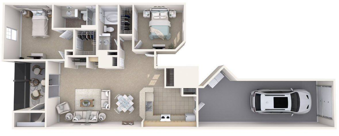 A 3D rendering of the Pebble Renovated floor plan