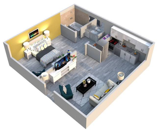 A 3D rendering of the Amway floor plan