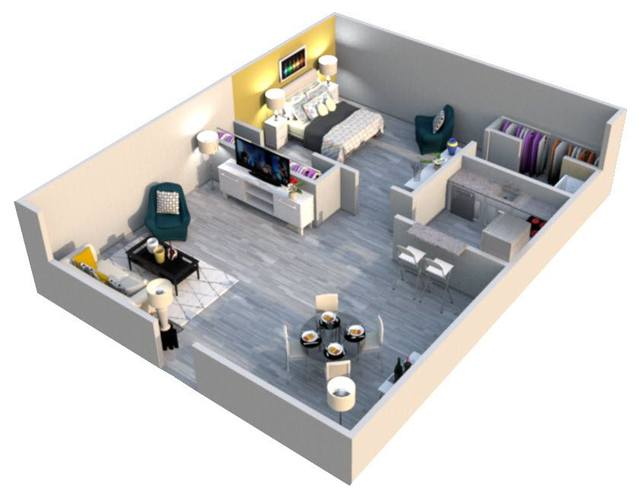 A 3D rendering of the Colonial floor plan