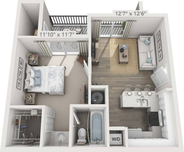 A 3D rendering of the A1 - Allamanda Renovated floor plan