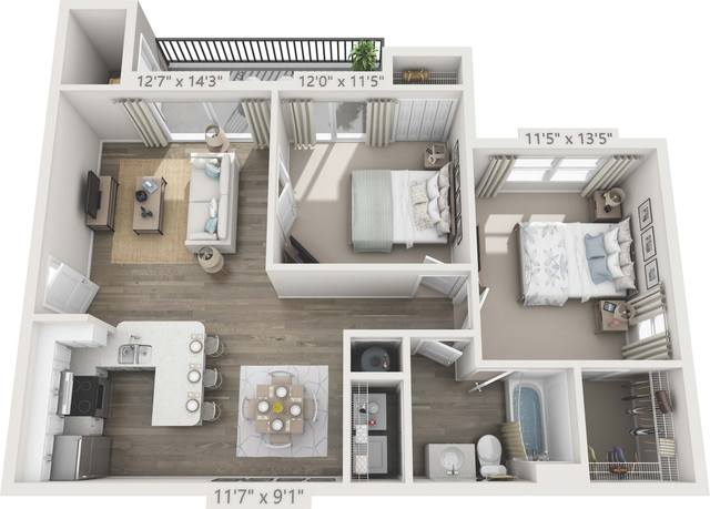 A 3D rendering of the B1 - Bougainvilla Renovated floor plan