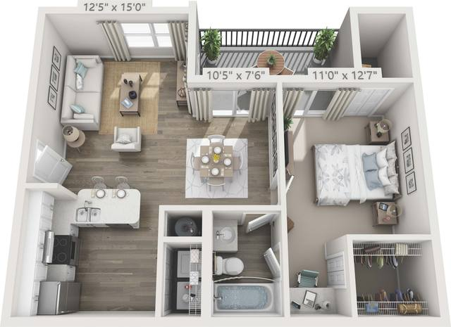 A 3D rendering of the A3 - Magnolia Renovated floor plan
