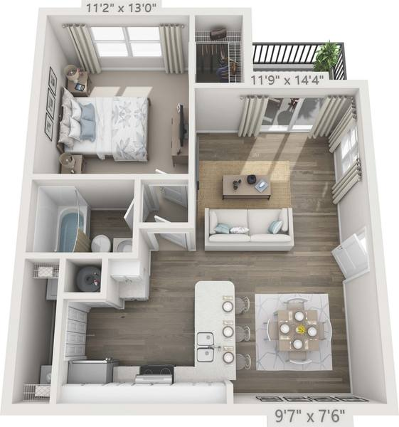A 3D rendering of the A2 - Azalea Renovated floor plan