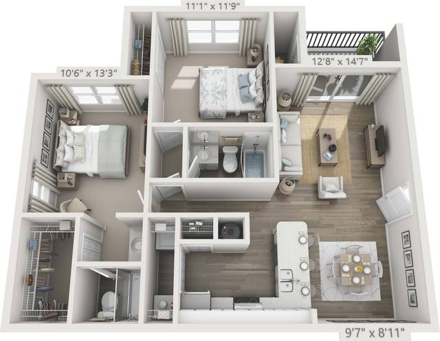 A 3D rendering of the B2 - Hibiscus Renovated floor plan