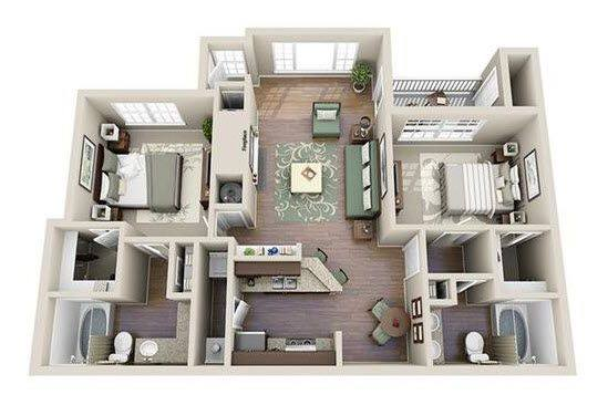 A 3D rendering of the B2 floor plan