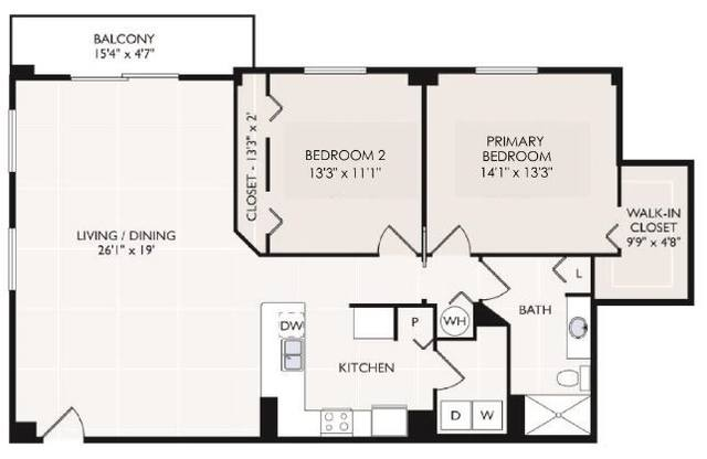 A 2D drawing of the Dominica floor plan